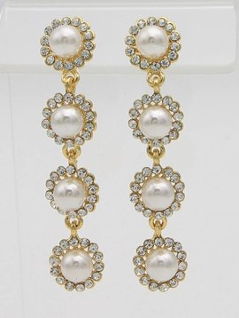PEARL WITH RHINESTONE DROP EARRINGS