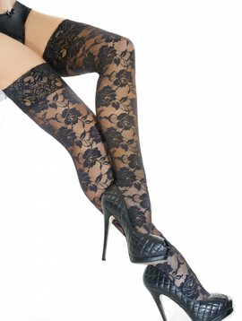 Coquette BLACK FLORAL LACE THIGH HIGHS