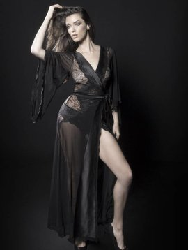 Oh La La Cheri NATALIE SATIN AND LACE ROBE