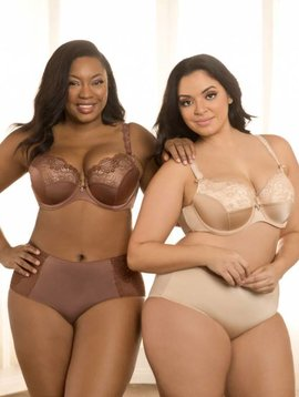 Curvy Couture TULIP LACE HIPSTER - CHOCOLATE