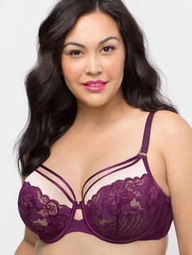 4683a5a935 Curvy Couture Tulip Strappy Lace Push Up Bra