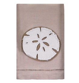 Mud Pie Hand Towel 107340B Sand Dollar Frayed Linen Towel
