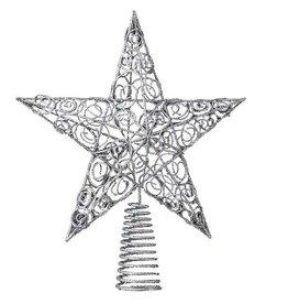 Kurt Adler Chirstmas Star Tree Topper Silver Wire Glittered 10in H9272S Kurt Adler