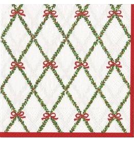 Caspari Paper Dinner Napkins Christmas 12730D Garland Trellis 20pk