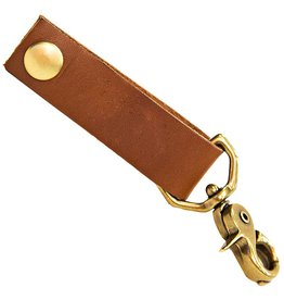 White Wing Label Leather Key Chain Fob w Bridle Button Snaps Chestnut