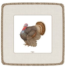 Caspari Fall Thanksgiving Salad Dessert Plates 8ct Caspari 12870SP T Turkey