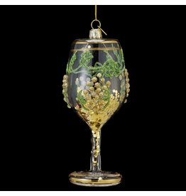 Kurt Adler Wine Glass w Glitter Glass Christmas Ornament NB0791-B Nobel Gems