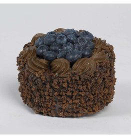 K&K Interiors Fake Display Food 10202A Dark Chocolate Cake W Blueberries 2.5in.