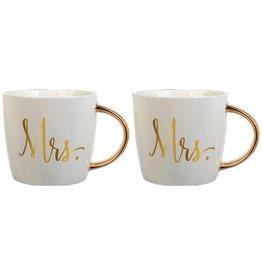 Slant Ceramic Mugs Set of 2 14oz F158530 Mrs and Mrs