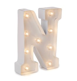 Darice LED Light Up Marquee Letter N 5915-791 White Metal