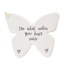 East of India Porcelain Butterfly Ornament 4056 Do What Makes your Heart Smile
