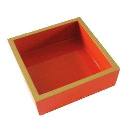Caspari Orange Gold Lacquer Luncheon Napkin Holder HL12