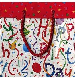 Caspari Gift Bag Sm 8823B1.5 Happy Birthday Sm Sq Gift Bag