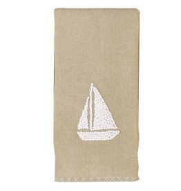 Mud Pie Natural Linen Hand Towel w French Knot Design 4405158S Sailboat
