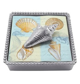 Mariposa Beaded Cocktail Napkin Box w Wieght 4015-C Conch Shell