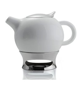 Nambe Bulbo Teapot w Infuser and Warming Base MT0722