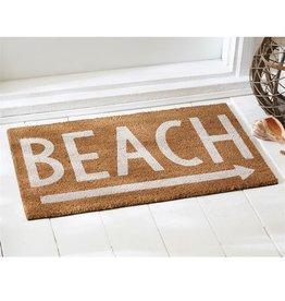 Mud Pie Woven Coir Door Mat w Rubber Back 18x29 4265243B Beach w Arrow Right