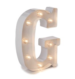 Darice LED Light Up Marquee Letter G 5915-784 White Metal