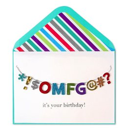 Papyrus Greetings Birthday Card OMFG Birthday Banner by Papyrus