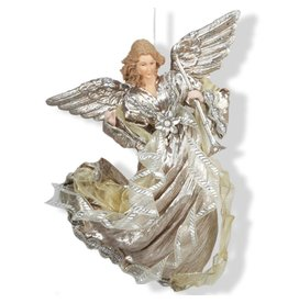 Kurt Adler Platinum and Plum Flying Angel Christmas Ornament J5914-A Kurt Adler