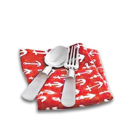 Harman Cotton Napkins Set of 4 18x18 w Printed Anchors on Red