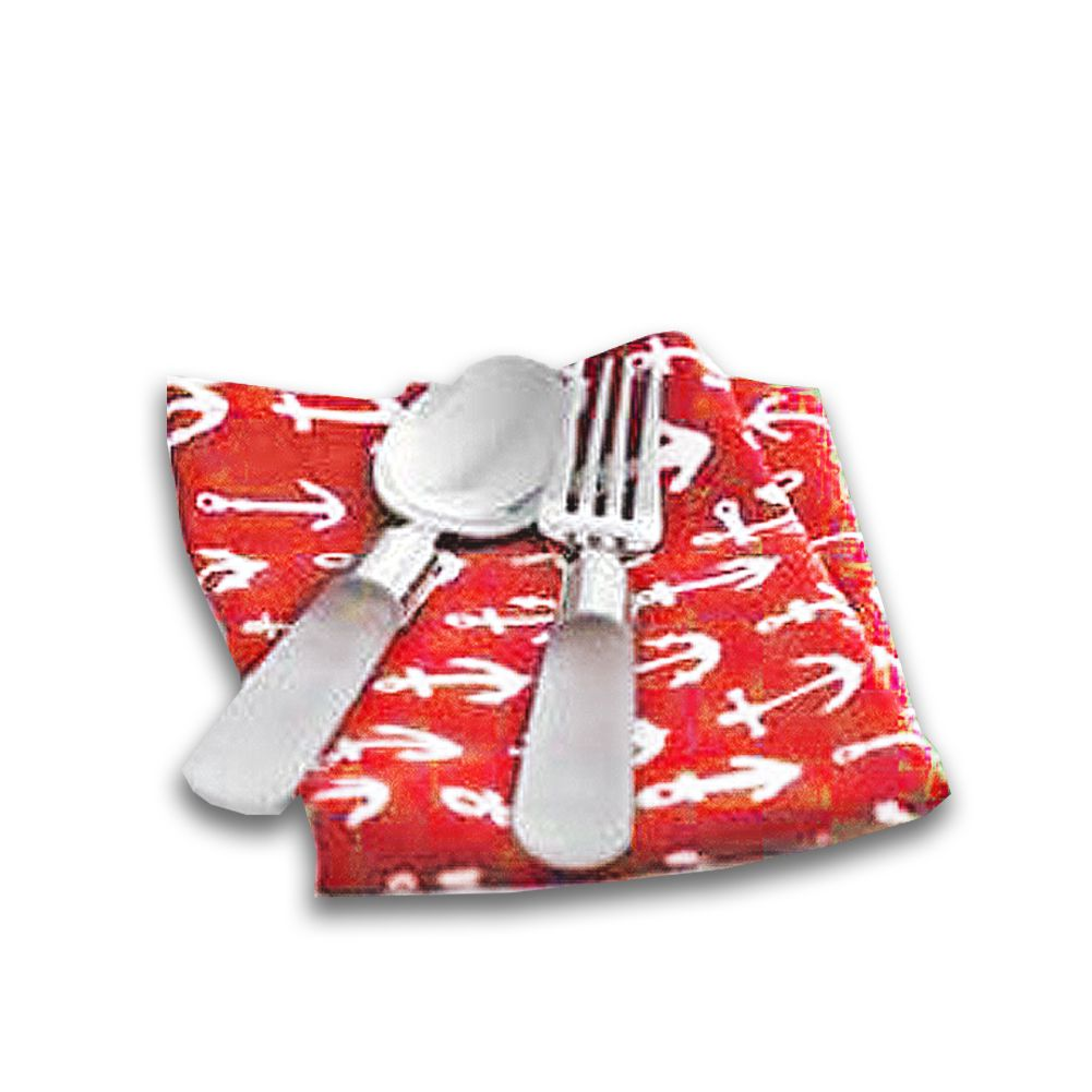 Harman cotton napkins set of 4 18x18 w printed anchors on red digs n
