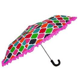 Compact Umbrella w Multi Color Geometric Pattern