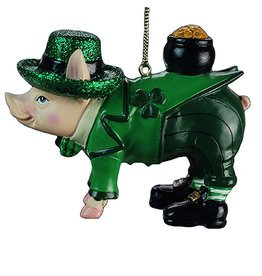 Kurt Adler Irish Christmas Ornament Pig in Green Suit w Hat and Pot of Gold