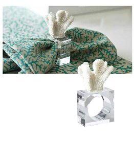 Harman Coral Napkin Ring on Acrylic Square - White