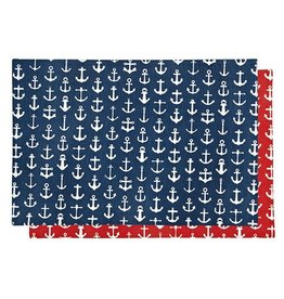 Harman Cotton Reversible Placemat 13x19 Inch Anchors Red Blue