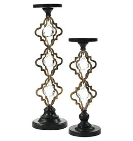 Mark Roberts Stylish Home Decor Crystal Pedestal Candle Holders Set