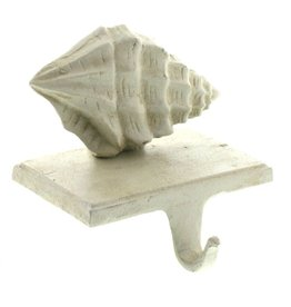 HomArt California Design House Rustic Cast Iron Stocking Holder Conch Shell
