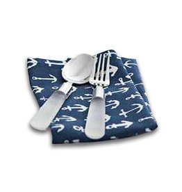 Harman Cotton Napkins Set of 4 18x18 w Printed Anchors on Blue