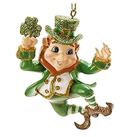 Kurt Adler Irish Christmas Ornament Dancing Leprechaun w Shamrock