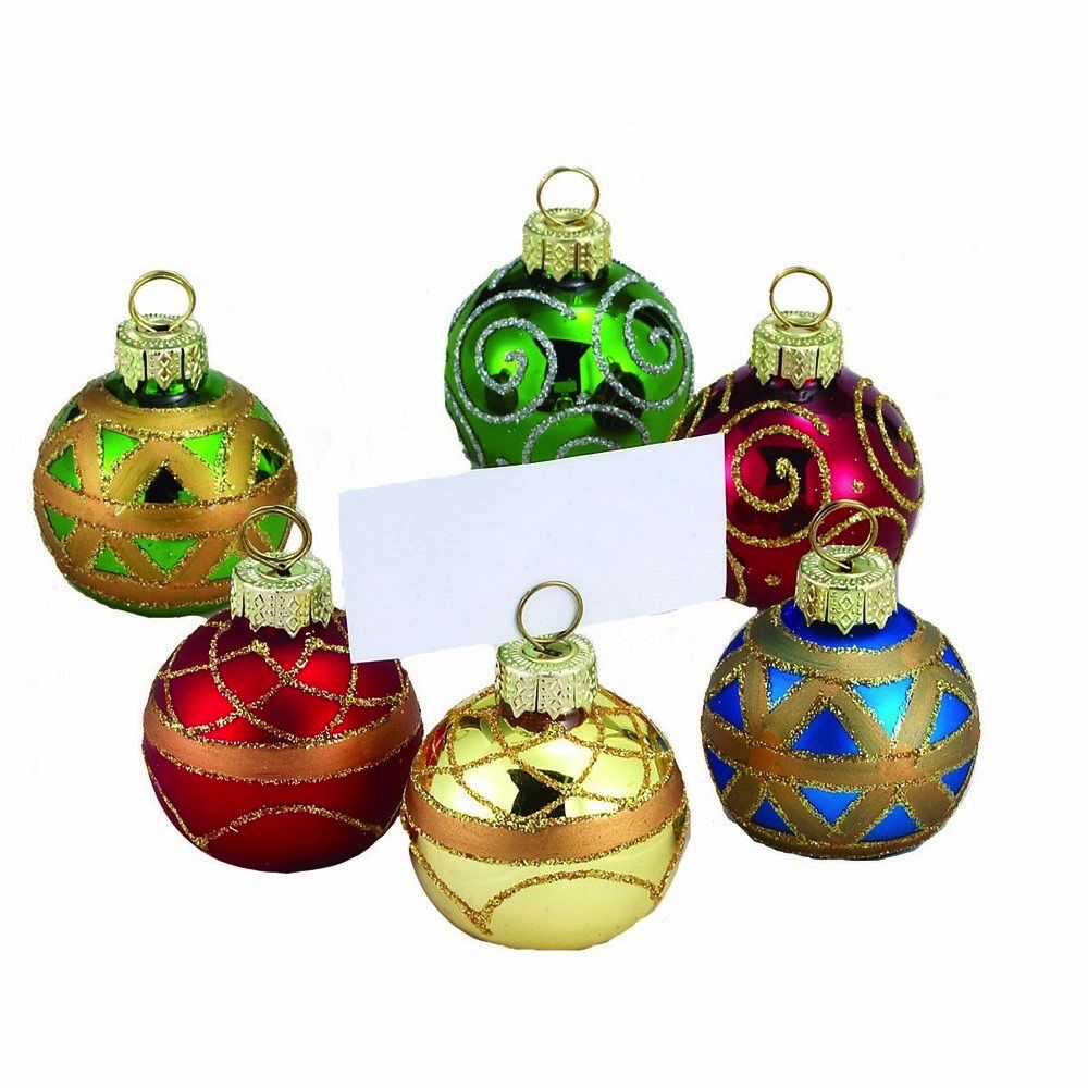 christmas place card holders ball ornaments w place cards 6pc c1848 digs n gifts. Black Bedroom Furniture Sets. Home Design Ideas