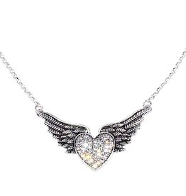 Jacqueline Kent Jewelry Silver Winged Heart Necklace