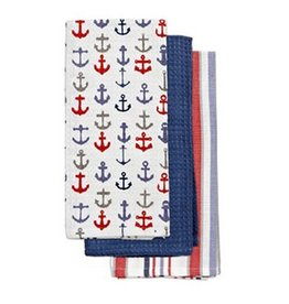 Harman Cotton Kitchen Tea Towels Set of 3 18x26 Anchors