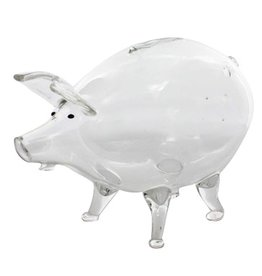 HomArt California Design House Glass Piggy Bank 5x3x3.5H inch Clear Glass