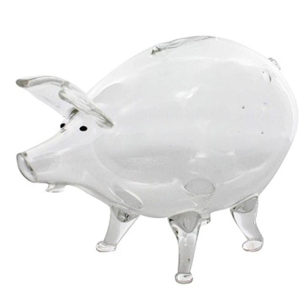 Old Fashioned Clear Glass Piggy Bank