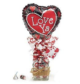 Burton and Burton Valentines Gift 9in Heart Balloon on Glass Gift Vase w Candy and Card