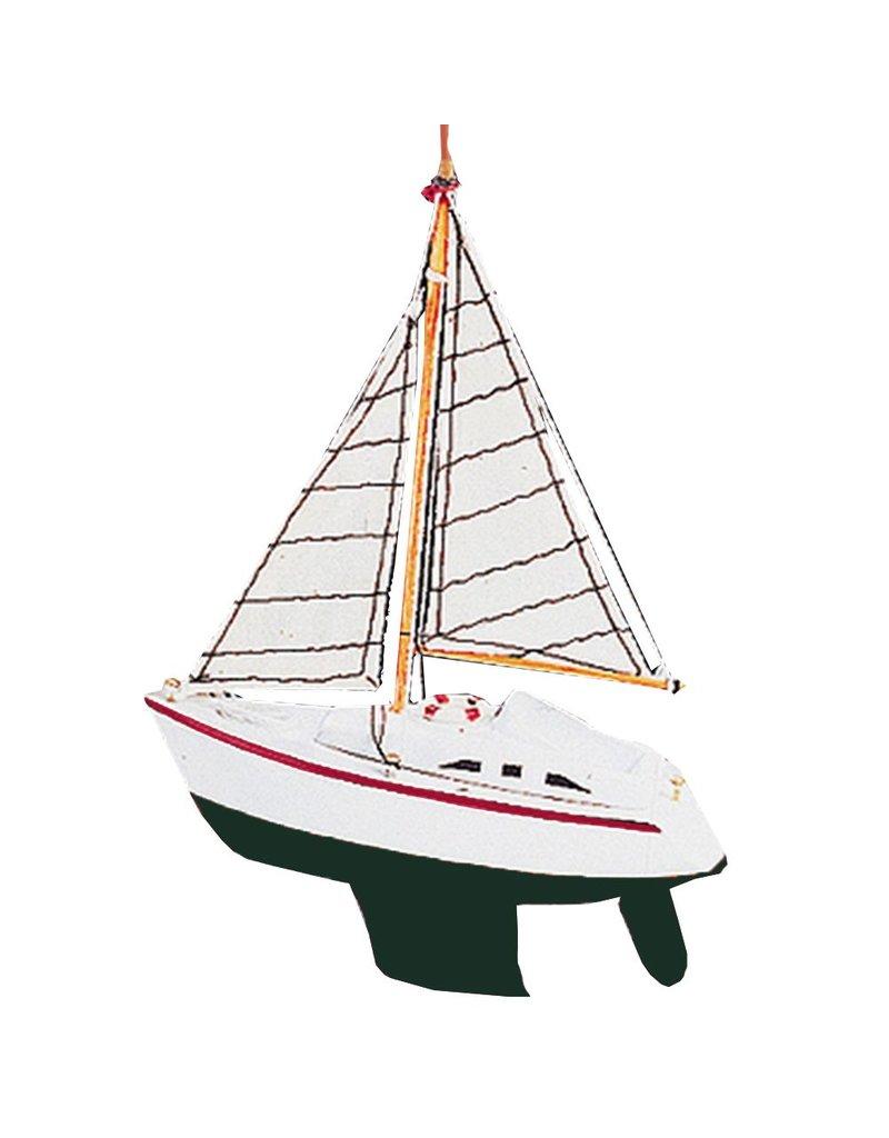 Kurt Adler Wooden Yachtsailboat Christmas Ornament C0555green Hull