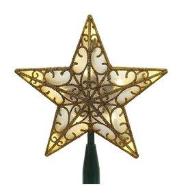 Kurt Adler Christmas Star Tree Topper Battery Operated LED 9in Gold