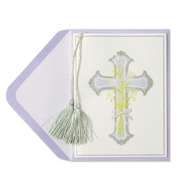 Papyrus Greetings Easter Card Silver Cross by Papyrus