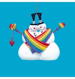 Kurt Adler Gay-Same-Sex Snowmen Rainbow Pride Couple 4 inch