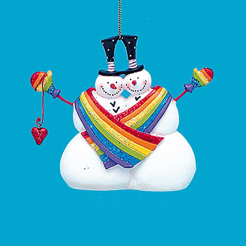 kurt adler gay same sex snowmen rainbow pride couple 4 inch - Gay Pride Christmas Decorations