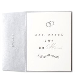 Papyrus Greetings Wedding Card Eat Drink and Be Married Letterpress by Papyrus