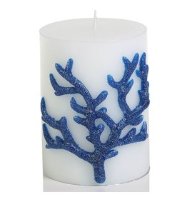 Zodax Antigua Blue Coral Wrapped Candle 3x4H Pillar VT-1171 by Zodax