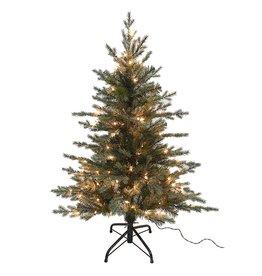 Kurt Adler Christmas Tree Pre-Lit 4 FT PE Pine Tree w Clear Warm White Lights