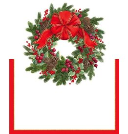 Caspari Christmas Place Cards Tent Style 8pk Evergreen Wreath 86928P Caspari