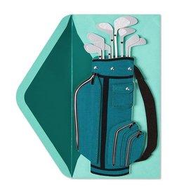 Papyrus Greetings Birthday Card Handmade Teal Birthday Golf Bag by Papyrus